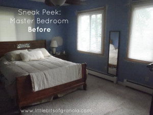 A sneak peek at my master bedroom makeover - here is one of the before pics (see the bluish purple walls They're GONE!) - by Little Bits of Granola
