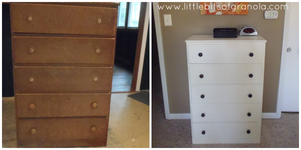 Master Bedroom Makeover Reveal Dresser Before and After - by Little Bits of Granola