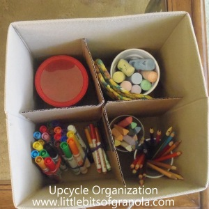 Upcycle Organization: How I used would-be trash items, like food cartons and cans, to organize storage cubes more effectively -- by Little Bits of Granola