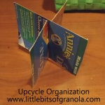 Upcycle Organizing - photo step-by-step for making a simple four-way divider - by Little Bits of Granola