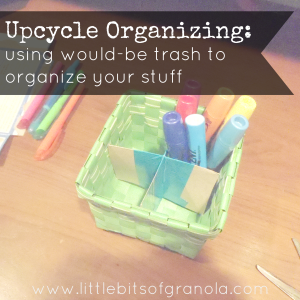 Upcycle Organizing - by Little Bits of Granola --- You don't need to spend a bunch of money on fancy (expensive!) organizing accessories!  Use would-be trash items, like cardboard boxes, food cartons, produce bands, to organize your stuff.