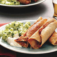 Bean Taquitos with Cucumber Salsa - Rachel Ray Magazine