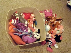 I sorted through the bin for small stuffties and made the girls pick some to take to their bedrooms.