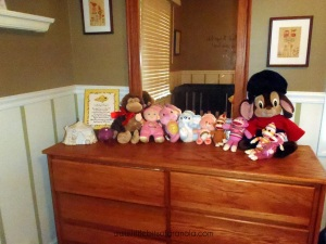 Little Miss K's stuffed animals live on her dresser.