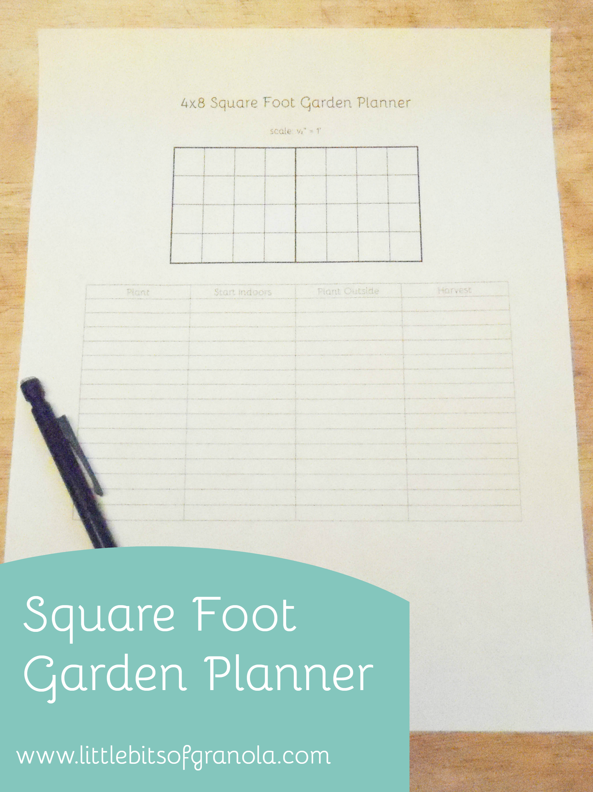 image about Free Printable Garden Planner referred to as Sq. Foot Yard Planner (free of charge printable) Small bits of